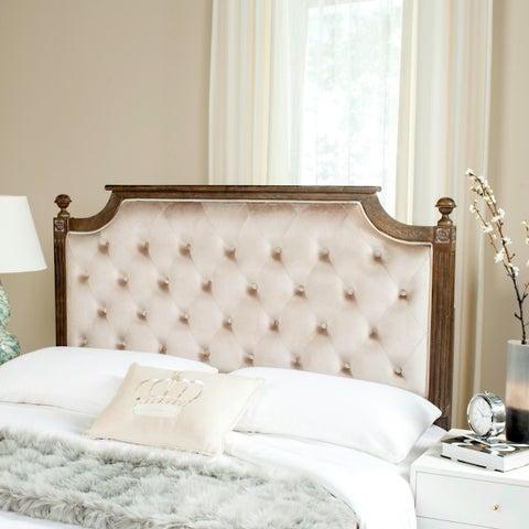Safavieh Bedding Rustic Wood Beige Tufted Velvet Queen Headboard - Beige / Rustic Oak