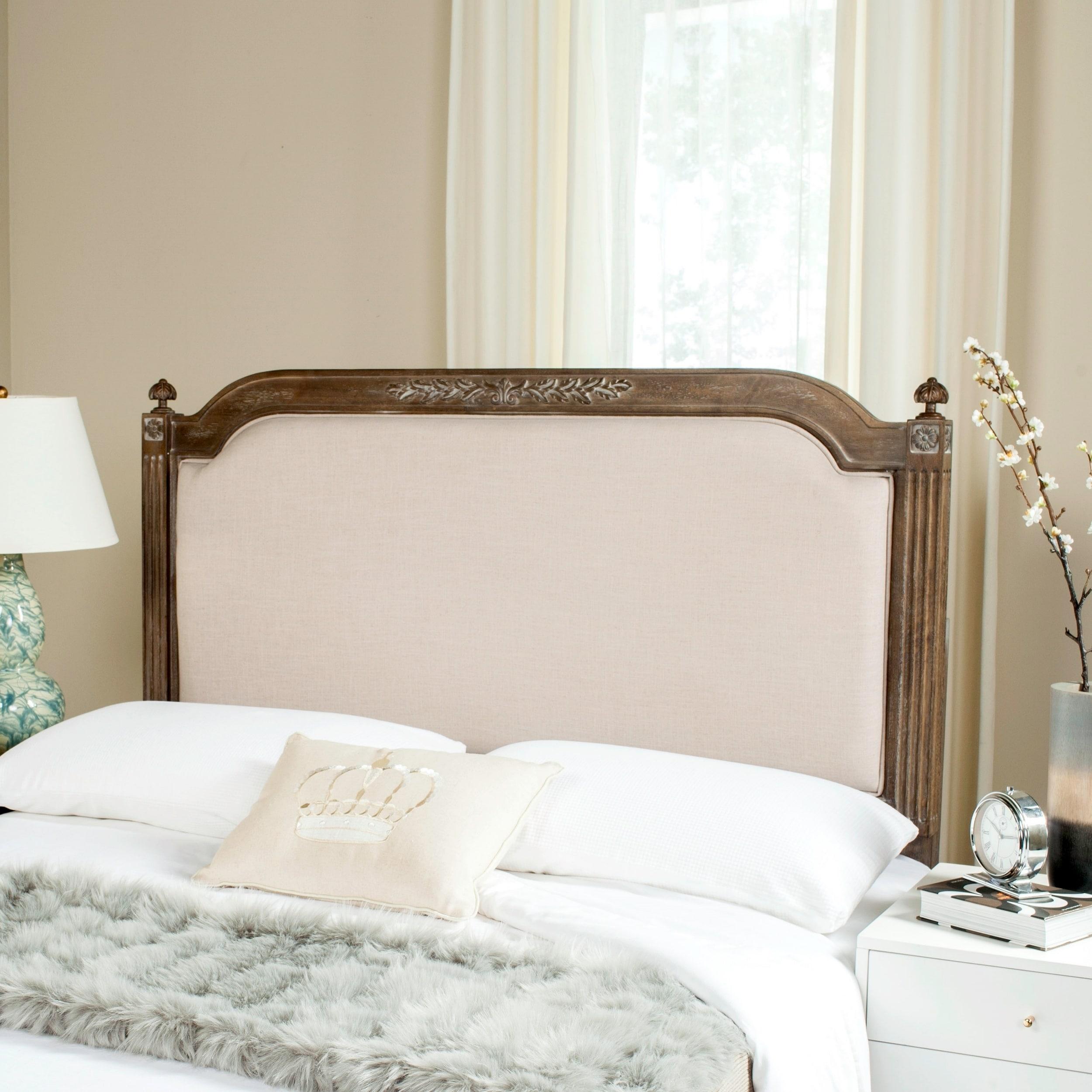 Safavieh Bedding Rustic Wood Beige Linen Queen Headboard   Beige / Rustic  Oak