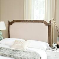 Safavieh Bedding Rustic Wood Beige Linen Queen Headboard - Beige / Rustic Oak
