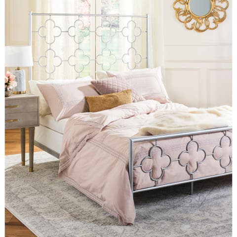 Safavieh Bedding Morris Lattice Metal Queen size bed - Antique Silver