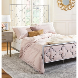 Link to Safavieh Bedding Morris Lattice Metal Queen size bed - Antique Silver Similar Items in Bedroom Furniture