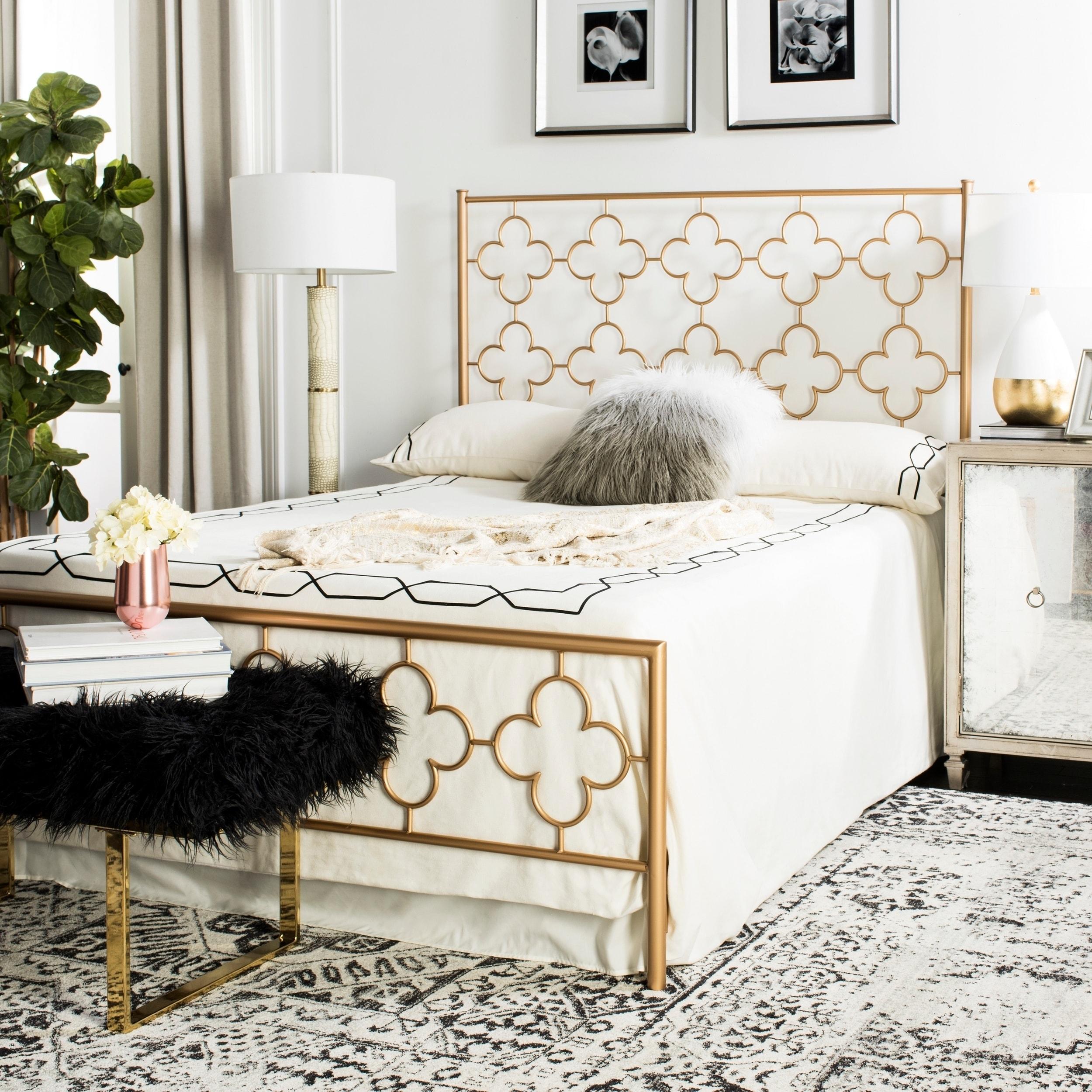Safavieh Bedding Morris Lattice Metal Queen Size Bed Antique Gold Overstock 22287128