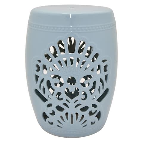 Three Hands Light Blue Ceramic 18.5-inch Garden Stool