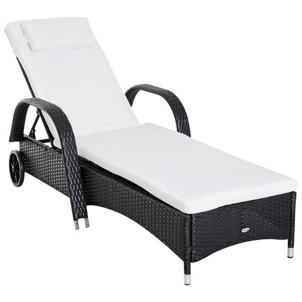 Shop Outsunny Outdoor Rattan Wicker Poolside Chaise Lounge