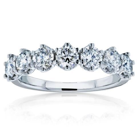 Annello by Kobelli 14k Gold 1 1/10ct TGW 7-Stone Prong Set Moissanite Ring (HI/VS)