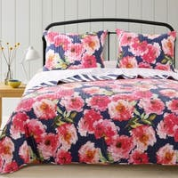Barefoot Bungalow Peony Posy Modern Floral Quilt Set, Navy