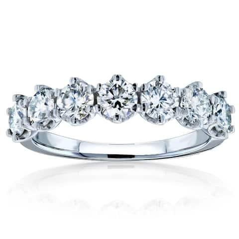 Annello by Kobelli 14k Gold 1 1/10ct TGW 7-Stone Prong Set Moissanite Ring (DEF/VS)