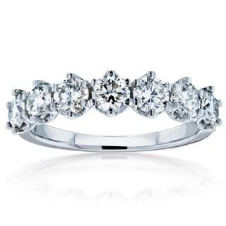 Annello By Kobelli 14k Gold 1 1 10ct TGW 7 Stone Prong Set Moissanite Ring FG VS
