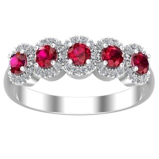 Belinda Jewelz 925 Sterling Silver Five Gemstone Cubic Zirconia Band Womens Ring