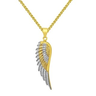 14k Two-tone Gold Angel Wing and Flat Wheat Chain Necklace