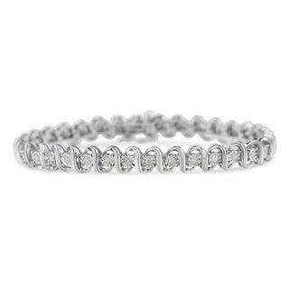 Sterling Silver 1ct TDW Diamond S-Link Bracelet (I-J,I3-Promo)