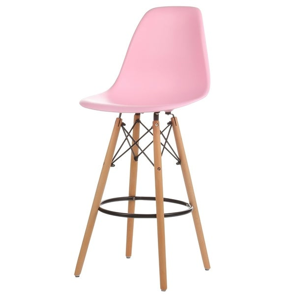 Shop Mid Century Modern 26 Inch Counter Bar Stool With Wood Base