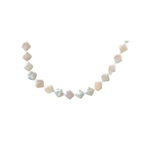 White Square Pearl Necklace - 33 Inches