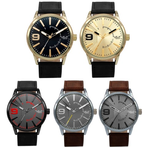 M Milano Expressions Vegan Leather Strap Watch 45411