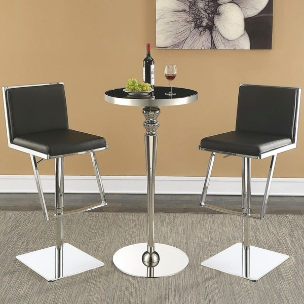 Shop Contemporary Black Modern Design 3 Piece Bar Set With