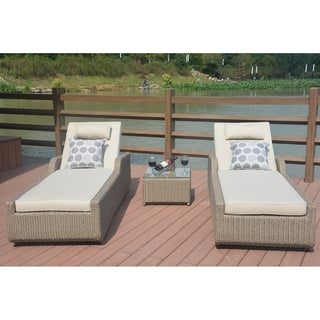Ariana Outdoor Wicker Adjustable Chaise Lounges with Table and Cushions (Set of 3) - N/A