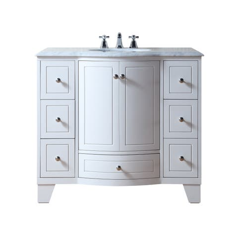 Stufurhome Grand Cheswick White 40-inch Single Sink Vanity with Carrara Marble Top