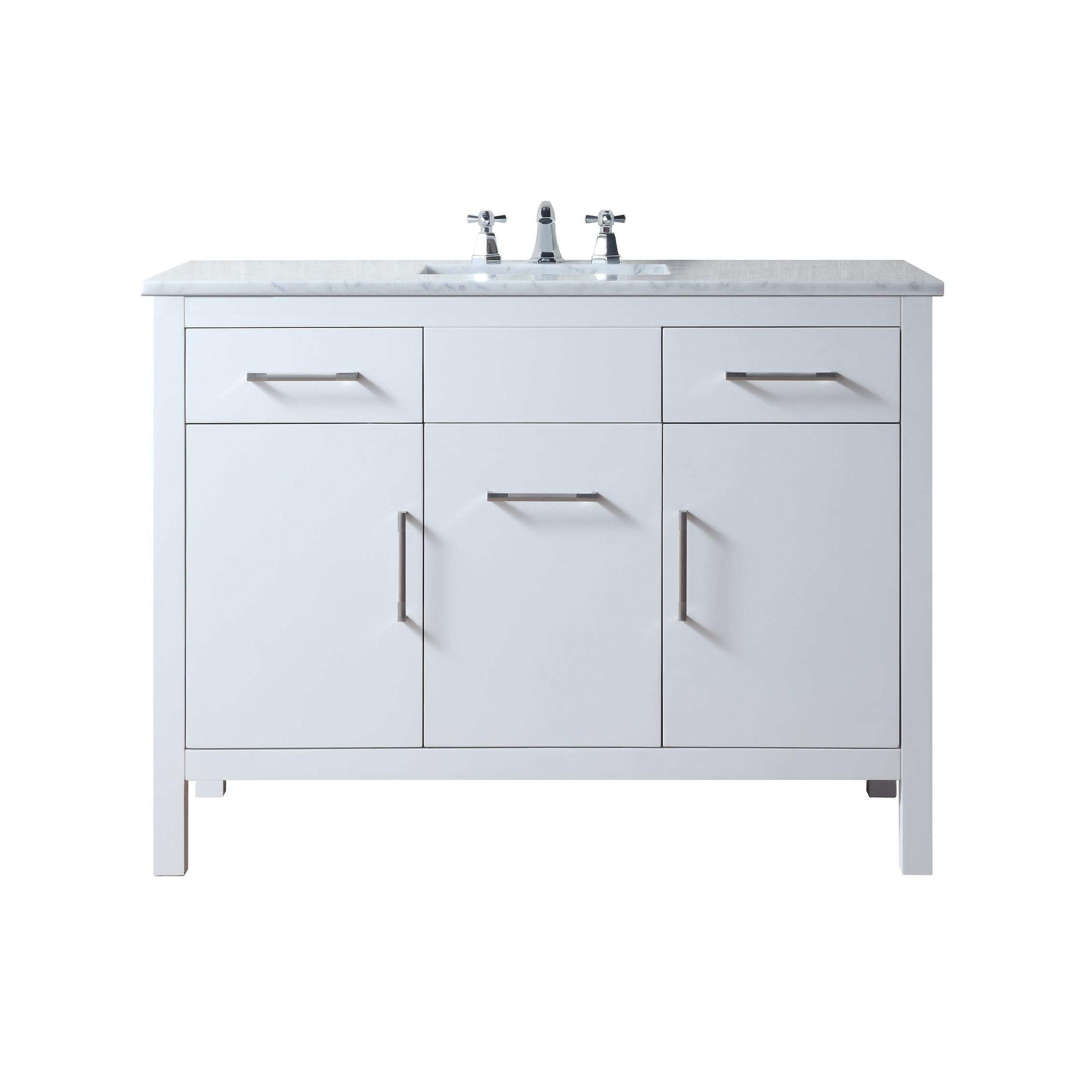 Stufurhome Atreus 48 Inch White Single Sink Bathroom Vanity With Carrara Marble Top Overstock 22288566