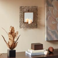 Madison Park Costa Antique Gold Spectra Wall Candle Holder With Mirror