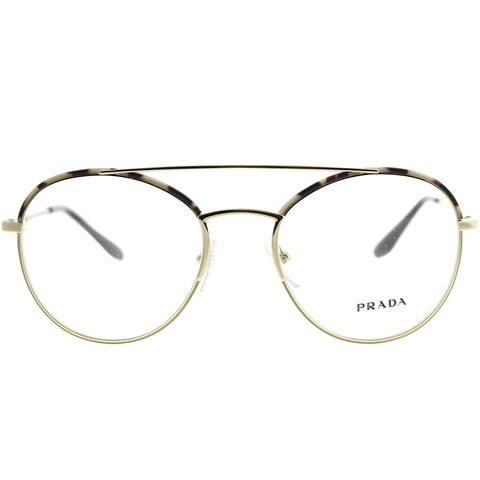 2f24ac8fc6c6 Prada Round PR 55UV UAO1O1 Woman Spotted Opal Brown Pale Gold Frame  Eyeglasses