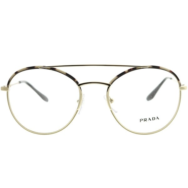 583cd5c6afeb Shop Prada Round PR 55UV UAO1O1 Woman Spotted Opal Brown Pale Gold Frame  Eyeglasses - Free Shipping Today - Overstock - 22288586