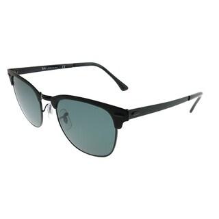 Ray-Ban Clubmaster RB 3716 Clubmaster Metal 186/R5 Unisex Matte Black on Shiny Black Frame Blue Lens Sunglasses