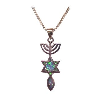 Wholesale Christian Gifts Messianic Seal Silver With Opals Necklace