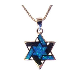 Wholesale Christian Gifts Large Silver Star Of David With Opals Necklace