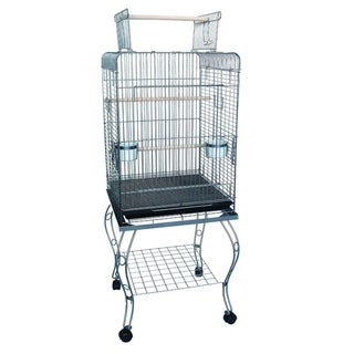 "Ymlgroup 24"" Open Top Parrot Cage with Stand in Antique Silver"