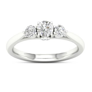 De Couer 14k Gold 5/8ct TDW Diamond Three-Stone Ring