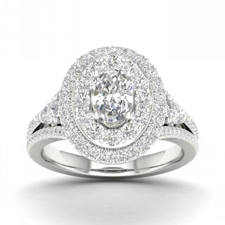 De Couer 14k Gold 1 1/2ct TDW Diamond Halo Ring