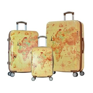 Olympia USA Metropolitan 3 Piece Expandable Hardcase Spinner Set - Map
