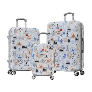 Olympia USA Metropolitan 3 Piece Expandable Hardcase Spinner Set - Stamp
