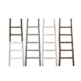 Eucalyptus Wood Blanket Ladder Distressed French Roast Finish