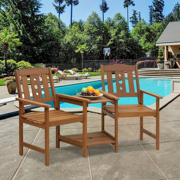 Furinno Tioman Outdoor Hardwood Jack & Jill Chair Set, FG17488
