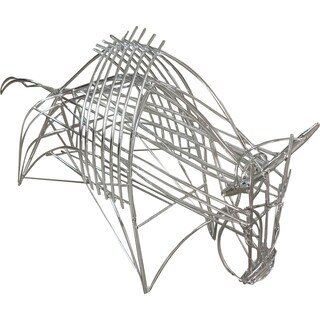 Aurelle Home Painted Industrial Metal Wire Bull Sculpture