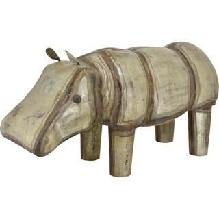 Antique Glam Iron Hippo Sculpture