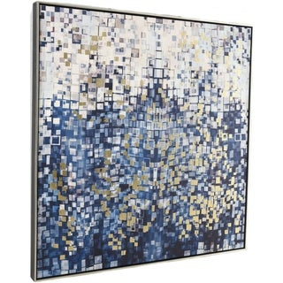 Aurelle Home Warm Abstract Contemporary Modern Canvas Wall Décor - Blue/Multi-color/White