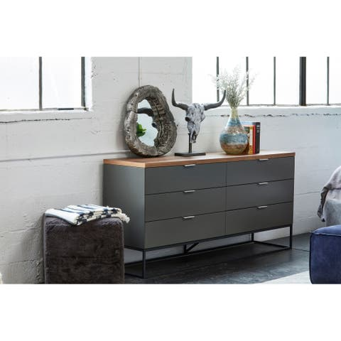 Aurelle Home Larado Modern Grey Walnut 6-drawer Dresser