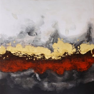 Red and Yellow Contemporary Modern Abstract Canvas Wall Décor - Black/Multi-color