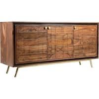 Dark Brown Hardwood and Iron Mid-century Modern Sideboard
