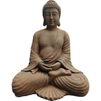 Aurelle Home Painted Tranquil Stone Transitional Budha Sculpture