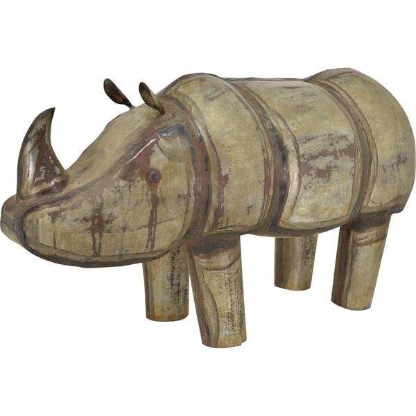 Antique Glam Iron Rhino Sculpture