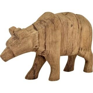 Aurelle Home Glam Style Dark Brown Mango Wood Bear Sculpture