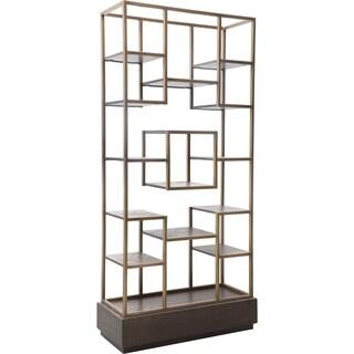 Aurelle Home Milan Brass Frame Modern Storage Bookcase