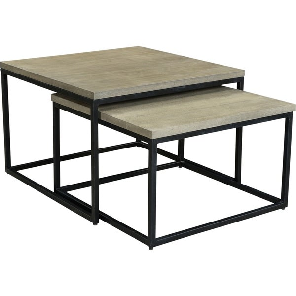 Aurelle Home Rustic Square Nesting Coffee Tables Set Of 2