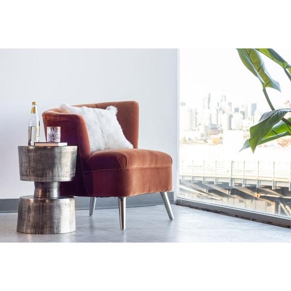 Aurelle Home Amanda Glass Top Rectangle Coffee Table: Shop Aurelle Home Nickel Antique Modern Accent Table
