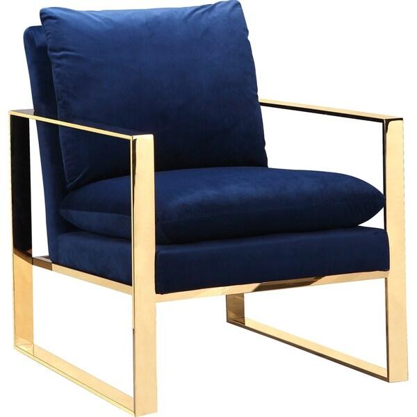 Shop Aurelle Home Glam Gold Frame Blue Accent Chair Free