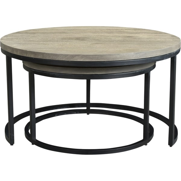 Shop Aurelle Home Industrial Round Nesting Coffee Tables