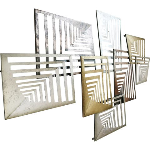Aurelle Home Large Metallic Geometric Iron Industrial Wall Decor